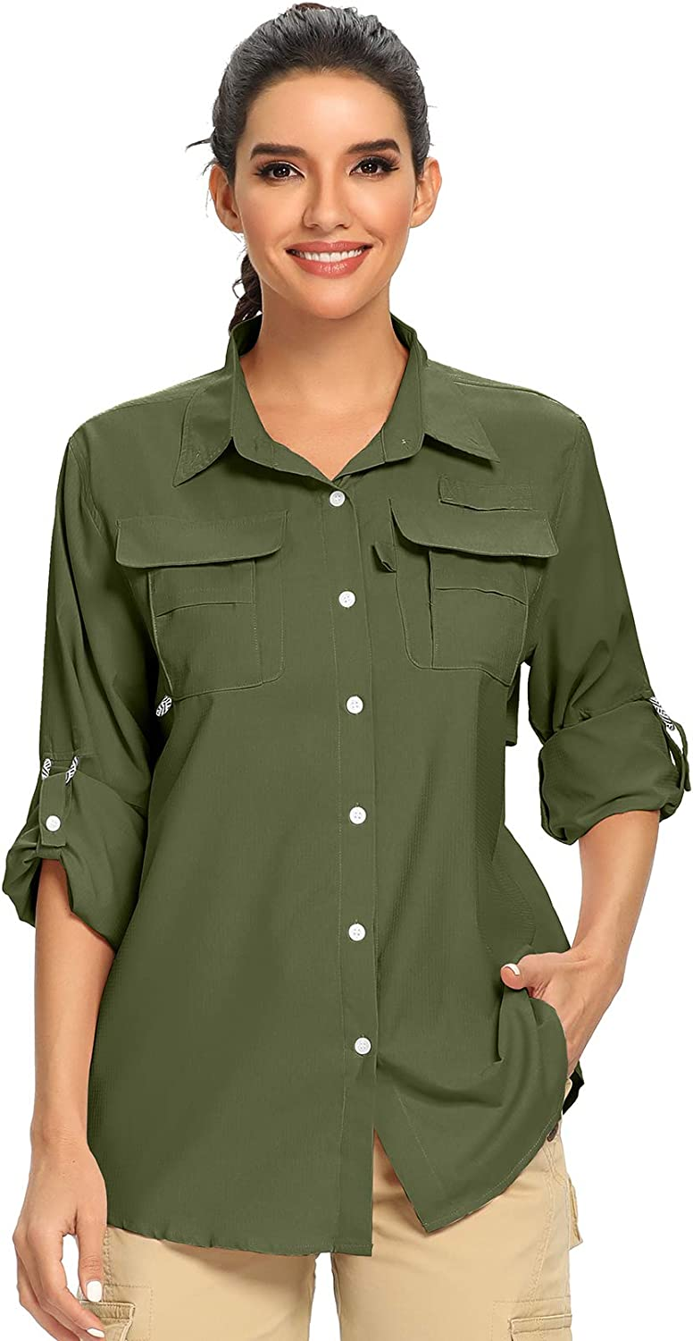 Fulture Direct Womens Quick Dry Sun UV Protection Convertible Long Sleeve Hiking Fishing Shirts