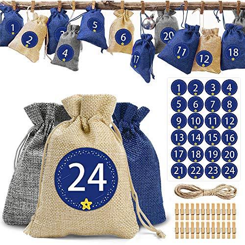 O-Kinee Calendrier de l'Avent, 24 Sachets en Tissu à Remplir, Sacs Cadeau avec Etiquettes Numéro et 24 Pinces en Bois, Sachets en Jute pour DIY Décoration de Noël (Bleu)