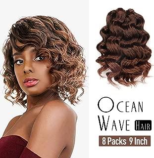 Ocean Wave Crochet Hair Pre-Looped 9 Inch 8packs Ombre Brown Ocean Wave Crochet Braids Synthetic Hair Extensions Toyo Tree