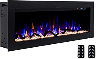3G Plus 50 Inches Wall Recessed Electric Fireplace Log Sets & Crystals, 10 Colors in-Wall  Built Heater, 2 Remotes, 1500W Electric Fireplace - Black