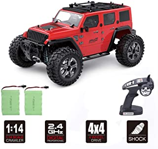 Rc Cars Off Road 4wd - Roterdon Rc Toys 1/14 Remote Control Car Cross-Country Monster Truck Crawler 4WD High Speed 2.4GHz Racing Vehicle Radio Control Trucks for Adult & Mens Red