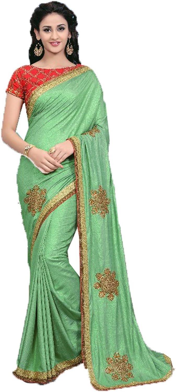 Da Facioun Women's Silk Embroidery Saree (Green)