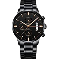 CUENA Men Stainless Steel Quartz Watches Military Waterproof Sport Classic Business Wristwatch...