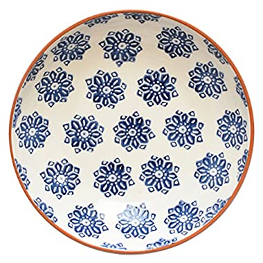 Euro Ceramica Azul Tile Collection 11.25  Terra Cotta Salad/Serving Bowl, Floral Hand-Painted Design, Blue & White