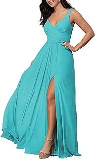V-neck Long Bridesmaid Dress Chiffon Wedding A-line Prom Dress with Slit Formal Dress