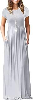 Kidsform Women's Short Sleeve Maxi Dresses Casual Plain Solid Loose Long Dresses Kaftan with Pockets