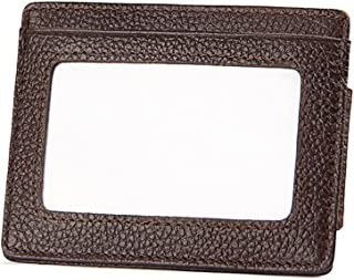 Unisex Wallet Thin Leather Compact Money Clip Colorful Anti RFID Card Holder (Color : Coffee, Size : One Size)