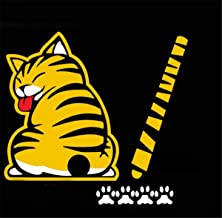 vylymuses 3D Car Stickers Cartoon Funny Cat Moving Tail Stickers Reflective Car Styling Window Wiper Decals Rear Windshield Decor Sticker (Yellow)