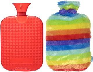 DUOCAI Rubber Hot Water Bottle with Super Soft Fur Cover for Pain,for Stomach 2L (Colorful)
