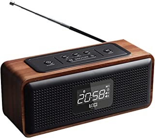 GLJJQMY Retro Wooden Alarm Clock Stereo Bluetooth Speaker Card Radio Audio Outdoor Portable Charging U Disk Audio