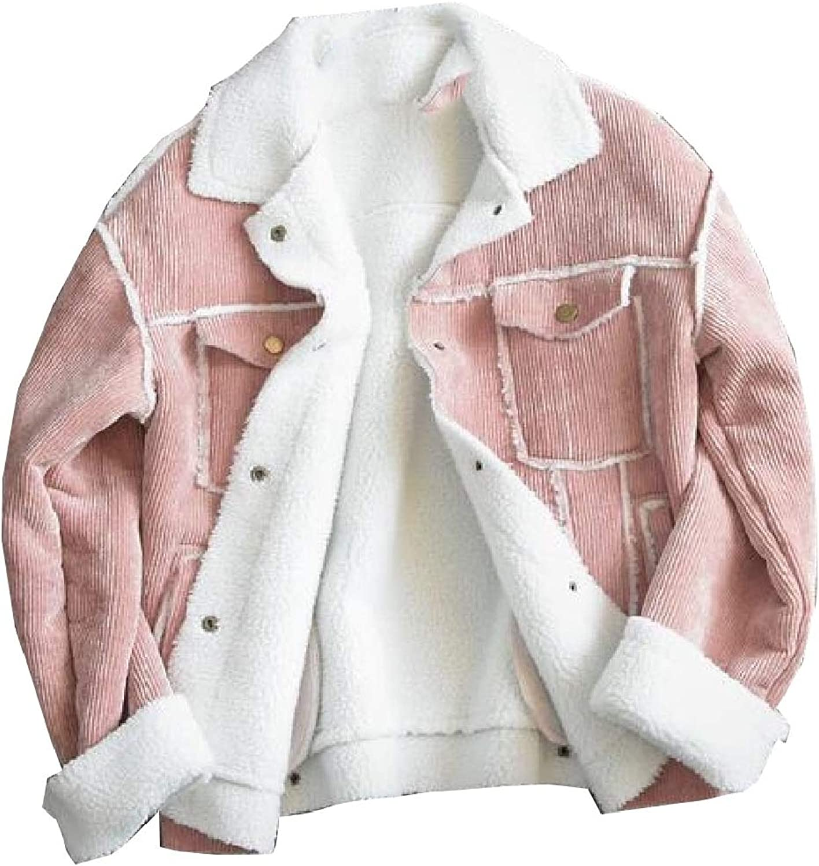 Keaac Women's Corduroy Button Down Woolen Lining Short Jacket Coat