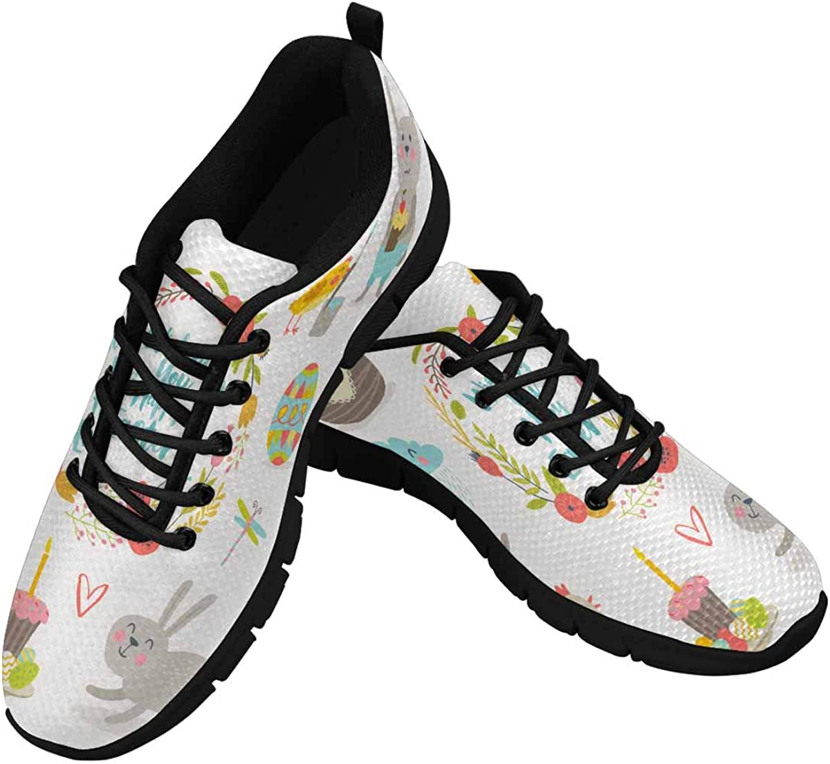 INTERESTPRINT Easter Bunny, Chickens and Flowers Women's Walking Shoes Lightweight Casual Running Sneakers