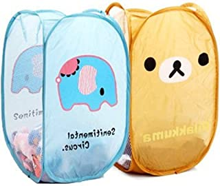 Angelina Selena 2 PCS Cute Relax Foldable Laundry Toys Tidy Clothes Socks Basket Storage Bag (Blue elephant and Bear Brown)