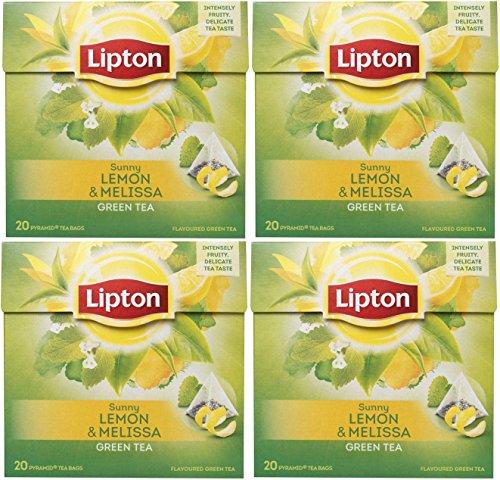 Lipton - Grüner Tee mit Zitrone Melissa Pyramiden Teebeutel - 4 Schachteln