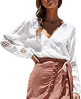 TOTOD Women Sexy V Neck Blouses - Hollow Out Long Sleeve Casual Shirts Boutique Tops Daily T-Shirt Jumper Outwear
