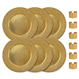 Home Collectives 13 Inch Round Elegant Serve ware Charger Plates with Matching Napkin Rings, Wedding, Dinner party, Event - Choose from our Variety of Styles and Quanties (6, Hammered Gold)