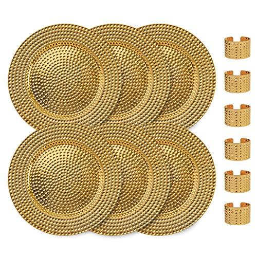 Home Collectives R&e elegante Servierteller mit entsprechenden Serviettenringen, 33 cm, für Hochzeit, Dinner-Party, Event – wählen Sie aus unserer Vielzahl von Stilen & Mengen (6, gehämmertes Gold)