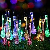 Uping Guirlande Lumineuse LED Solaire 30 Ampoules 6,5 Mètres en Forme de Goutte d'eau Etanche Décoration Intérieur/Extérieur pour Jardin Noël Mariage Cérémonie(Multicolore )