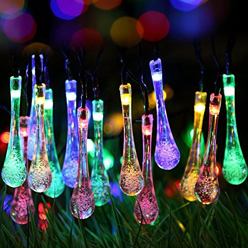 Highill Solar Powered LED Fairy Lights 8 Mode String Light 30 Water Drop 6.5M Multi Color Waterproof for Indoor Outdoor Party Garden Christmas Halloween Wedding Home Bedroom Yard Deck Decoration