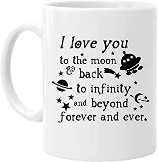Valentine's Day Gift - 11 Ounces Funny Quotes Saying I Love You To the Moon And Back Coffee Tea White Mugs Cup, Pefect Gift for Lovers / Couples