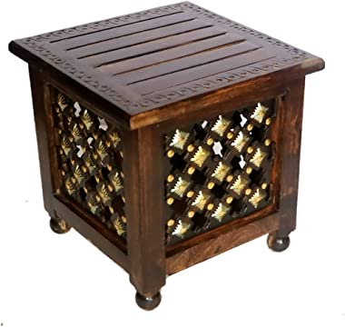 MALHOTRA CRAFT HOUSE Wooden Stool for Living Room   Side Stool  Table for Bedroom  Stool with Storage for- Dressing Table, Be