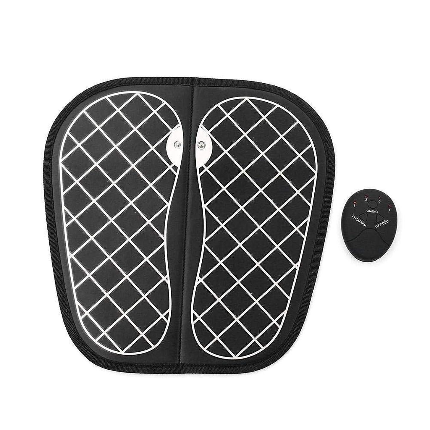 降ろす幻影先住民EMSフットマッサージャーUSB充電式ポータブル電気マッサージマットは、10の力と6つの振動モードで折り畳み可能で、疲労を軽減し、血行を促進します