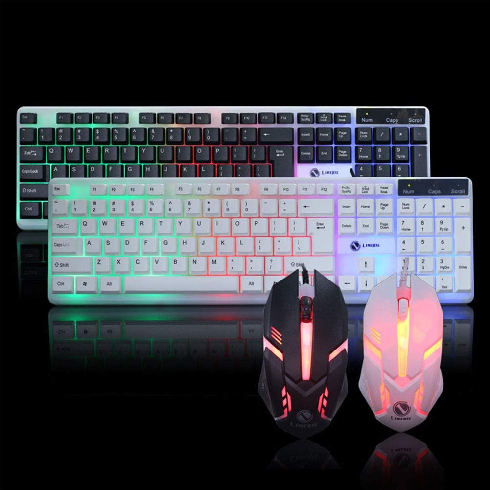 Mouse Set for Laptop Computer Backlit Keyboard Black MeterMall New Wired USB PC Gamer Mechanical Feel Keyboard
