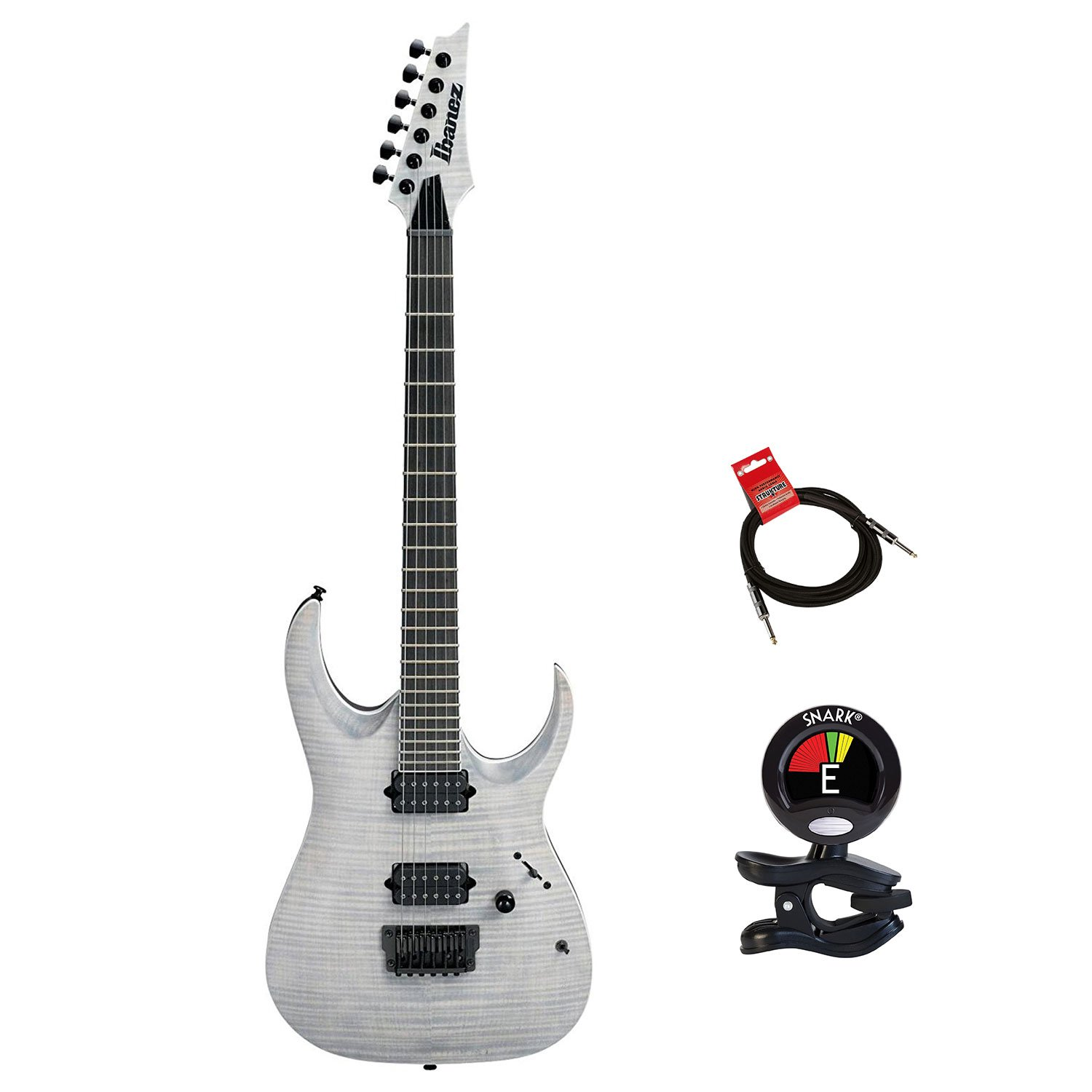 Cheap Ibanez RGAIX6FMWFF RGA Iron Label 6 String Electric Guitar Package in White Frost Flat With Guitas Clip On Tuner and Instrument Cable - Electric Guitars Package Black Friday & Cyber Monday 2019