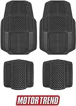 Motor Trend MT-824 Carbon Fiber Armor-Tech All Weather Floor Mats, 4 Piece Set – Waterproof, Heavy-Duty Front & Rear Rubber Liners for Car, Truck, SUV & Van