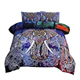 NTBED Bohemian Elephant Comforter Set Queen 3-Pieces Microfiber Exotic Printed Bedding Boho Mandala Printed Quilt Sets , Multi