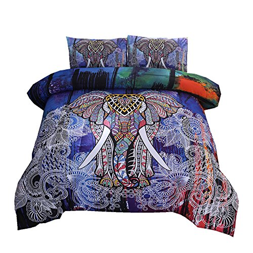 NTBED Bohemian Comforter Sets Queen 3-Pieces Microfiber Exotic Elephant Printed Bedding Boho Mandala Printed Quilt Sets, Multi