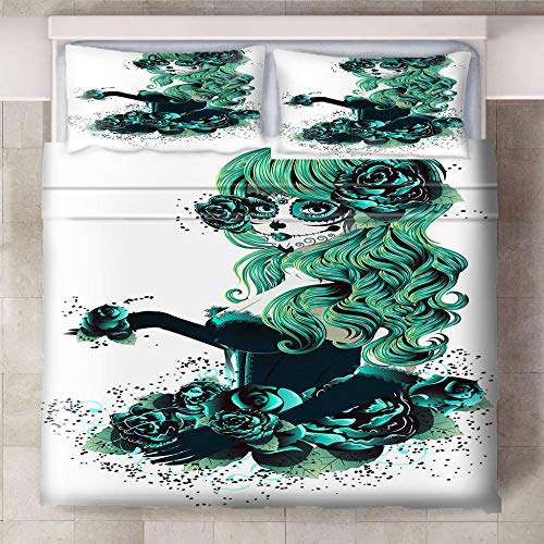 Teqoasiy - Funda Nórdica De Edredón King Size - 3D Verde Pelo Largo Niña Graffiti 229x229cm Funda Nórdica De Tres Piezas - De Ropa De Cama Con 2 Fundas De Almohada King - Chico Niña Cuarto De Los Niño
