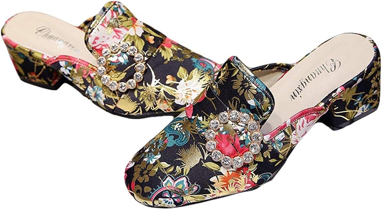 T-JULY Women Casual High Heel Slippers Rhinestone Printed Silk Slides Wedge Platform Outdoor Sandals