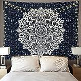 Betylifoy Psychedelischer Mandala Wandbehang Tapisserie Indischer Hippie Wandteppich Boho Trippy Tapisserie für Schlafzimmer Ästhetische Wohnheim Wohnung Wand Kunst Dekor (148x200cm)