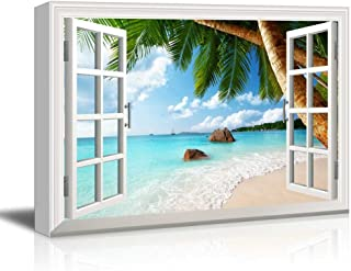 wall26 - Creative Window View Canvas Prints Wall Art - ANSE Lazio Beach on Praslin Island in Seychelles - 24