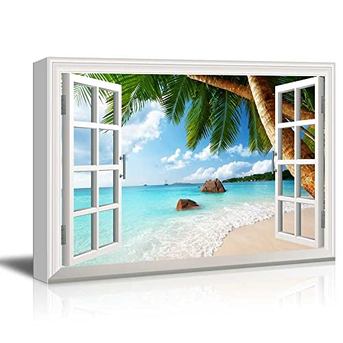 85a3530d2f6 wall26 - Creative Window View Canvas Prints Wall Art - ANSE Lazio Beach on  Praslin Island