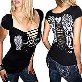 Demi Loon Sexy Women's Biker Tee  Gothic Slashed Angel Wings Country Tattoo Tee … Black