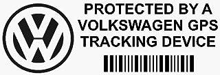 """Lote de 5 adhesivos de seguridad para ventanilla de coche, diseño con texto """"GPS Tracking Device"""", para Volkswagen Polo, Golf GTi, Beetle y Passat, 87 x 30 mm, color negro"""