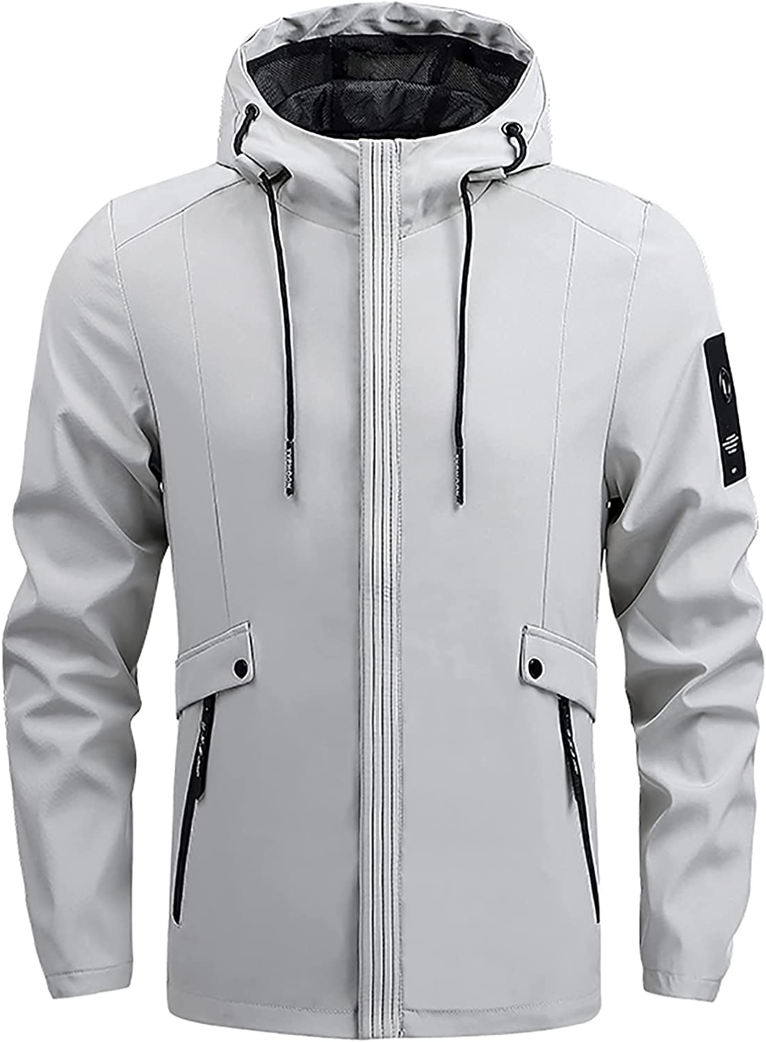 Men's Solid Color Full Zipper Multi-Pocket Hoodie Casual Slim Fit Windproof Warm Jacket Fashion Trend Outerwear