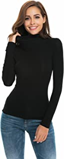 Womens Long Sleeve Mock Turtleneck Stretch Fitted...