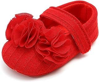Weixinbuy Baby Girl's Flower Princess Shoes Mary Jane Flats Soft Sole Wedding Dress Ballet Flats
