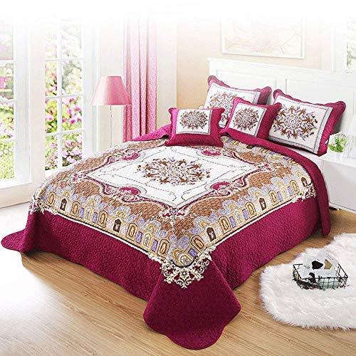 King Bed Throws Colcha Cómoda Funda de cama lavable de algodón puro Edredón acolchado multifunción Manta de aire acondicionado 3PCS Ropa de cama Colchas dobles (230x250cm) Con 2 fundas de almohada (50