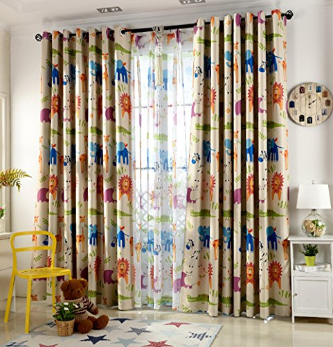 Fun Lions Elephants Giraffes Zebras Crocodile Kids Curtains