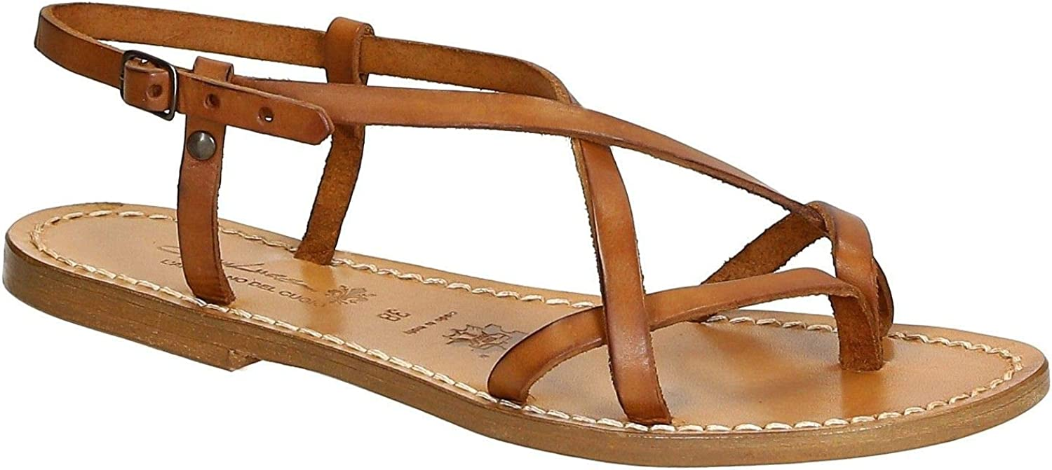 GIANLUCA - L'ARTIGIANO DEL CUOIO Women's 863BROWN Brown Leather Sandals