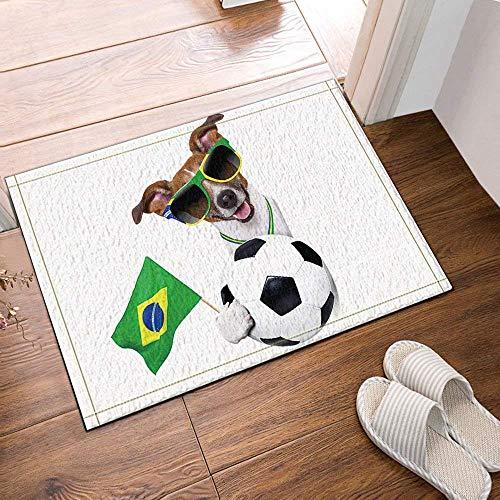 Gjid Un Perro Feliz con Gafas de Sol y alfombras de baño de fútbol Entradas Antideslizantes en el Piso Alfombrilla para Puerta de Interior al Aire Libre Alfombrilla de baño Alfombras de baño