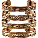 cosynee Set of 4 Tibetan Copper Bracelets Magnetic India Pattern Women's Men's Spiritual Yoga Jewelry (Style -1)