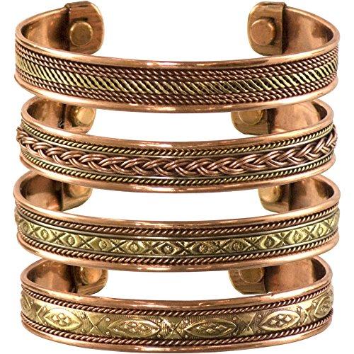 cosynee Set of 4 Tibetan Copper Bracelets Magnetic India Pattern Women's Men's Spiritual Yoga Jewelry (Style -1)