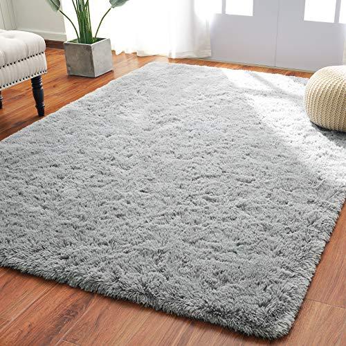 Softlife Fluffy Bedroom Area Rugs 4 x 5.3 Feet Shaggy Nursery Rug for Girls Baby Kids Dorm Room Modern Home Decorative Plush Indoor Floor Carpet, Grey