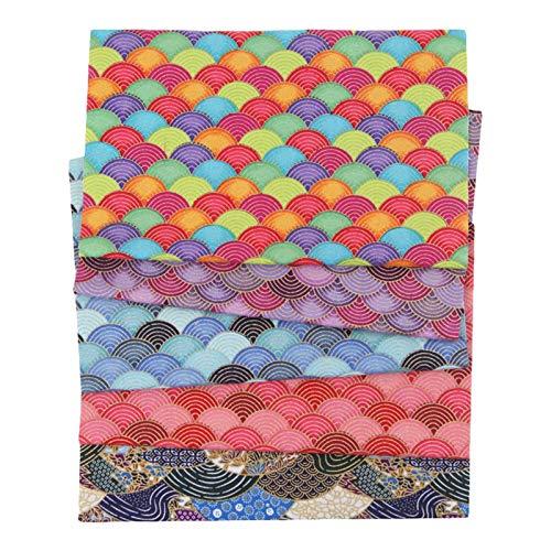 rethyrel Reiner Baumwollstoff-5PCS Japanischer Baumwollstoff Stoffe Zum Nähen, Patchwork Stoffpaket Zum Quilten DIY Basteln Handwerken, Quadrate Baumwolltuch, Modischen Mustern