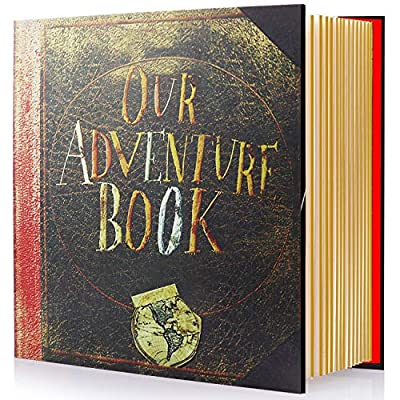 Magnetic Self-Stick Page Photo Album, Our Adventure Book Handmade DIY Albums for Wedding Anniversary Family Holds 3X5, 4X6, 6X8, 8X10 Photos (Travel Photo Album)